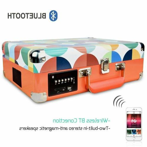 Portable 3-Speed Bluetooth Suitcase Vinyl Record Stereo