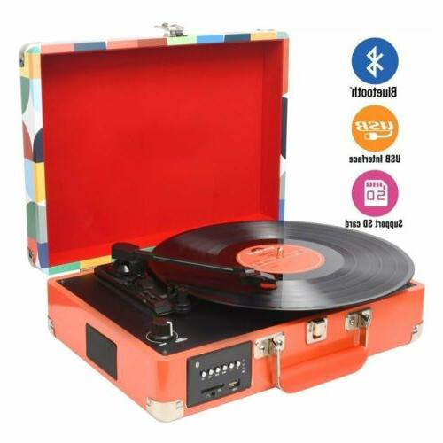 portable 3 speed bluetooth usb suitcase vinyl