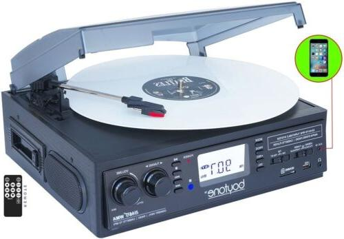 3 speed turntable record cassette player usb