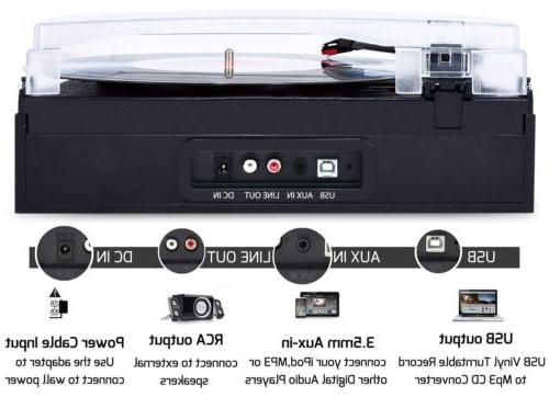 3-speed Turntable Record Player Built-in Stereo Speakers