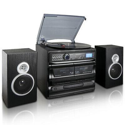 3 speed vinyl turntable home stereo system