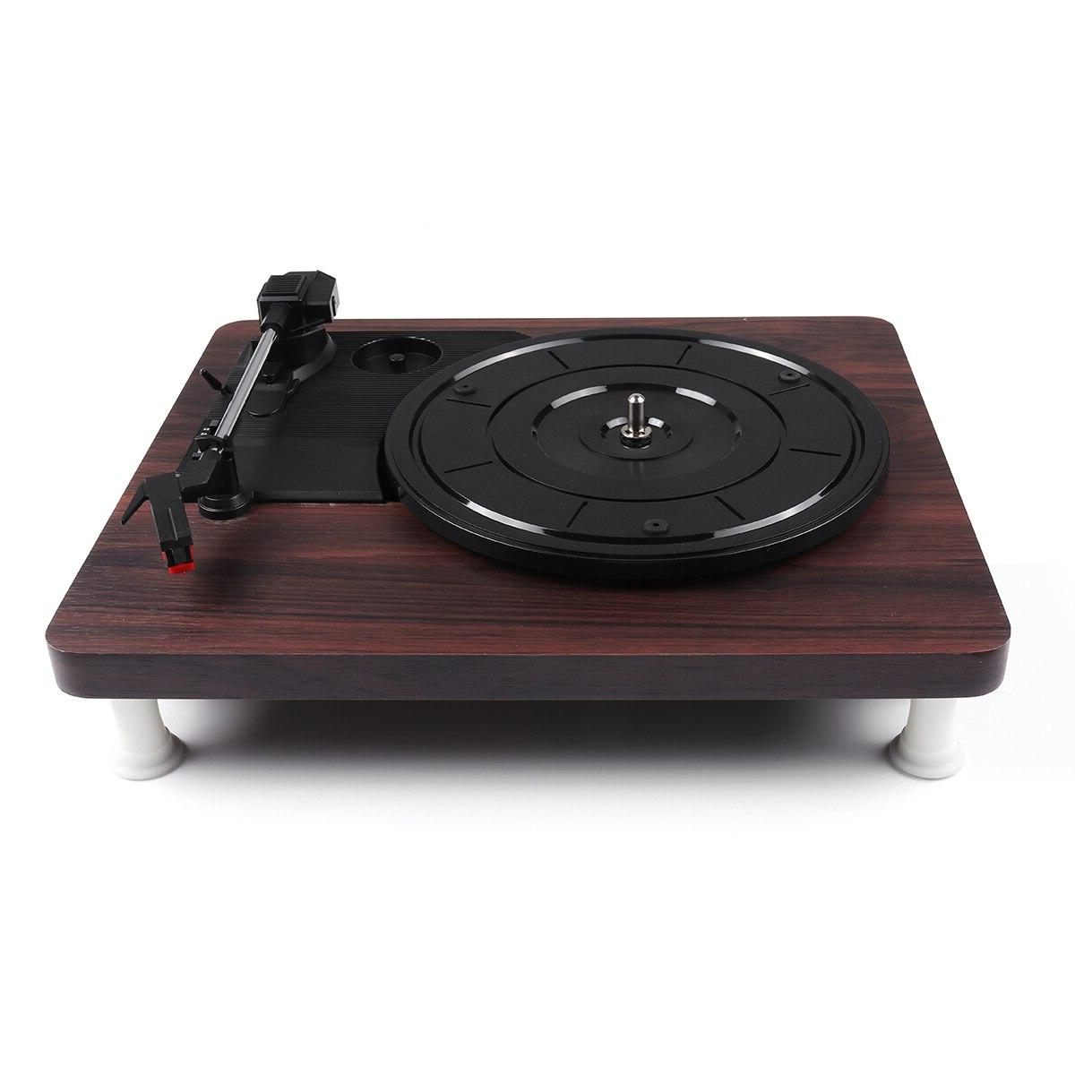 33, 45, 78 <font><b>Record</b></font> Player <font><b>Turntable</b></font> RCA Out DC Wood Color