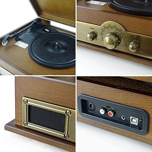 Bluetooth Compatible Turntable Retro Style System to PC, Vinyl Digital MP3 RCA, AM FM - Pyle PTT30WD