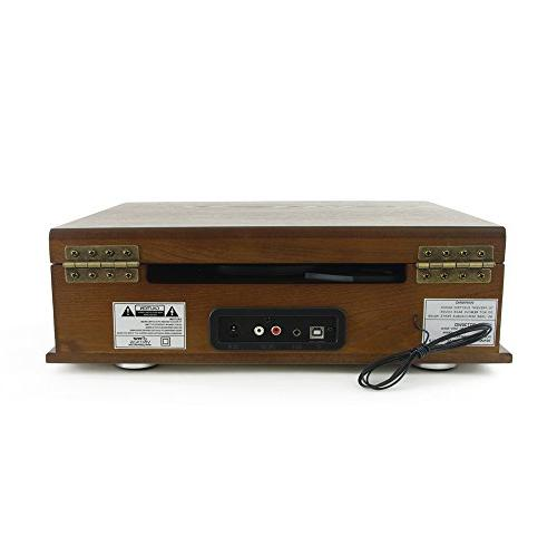 Bluetooth Compatible Classic Turntable Briefcase Style System to to Digital Converter, AUX, RCA, AM FM - Pyle PTT30WD