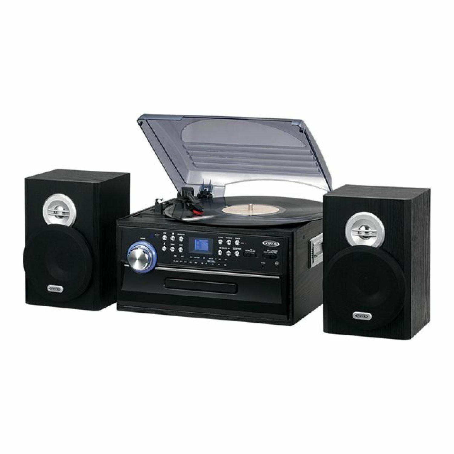 Jensen Bluetooth 3-Speed Stereo Turntable Music System With 3-CD Changer Dual
