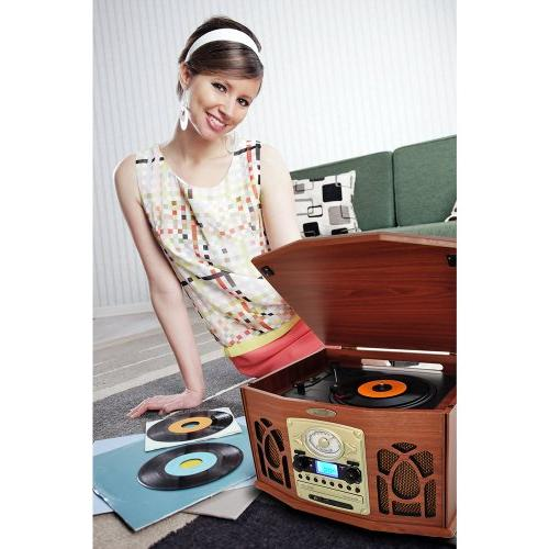 Retro Stereo With Bluetooth, CD SD and Speakers - MP3 with Remote and LCD