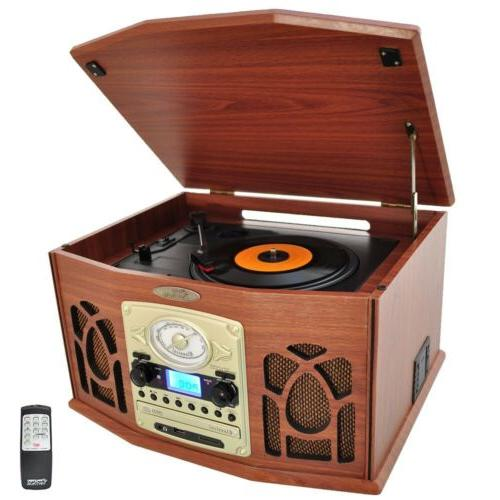 Pyle Vintage Turntable - Retro Vinyl Stereo System With Blue
