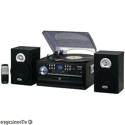 JENSEN HOME STEREO CD/CASSETTE/RECORD PLAYER TURNTABLE SYSTEM RADIO