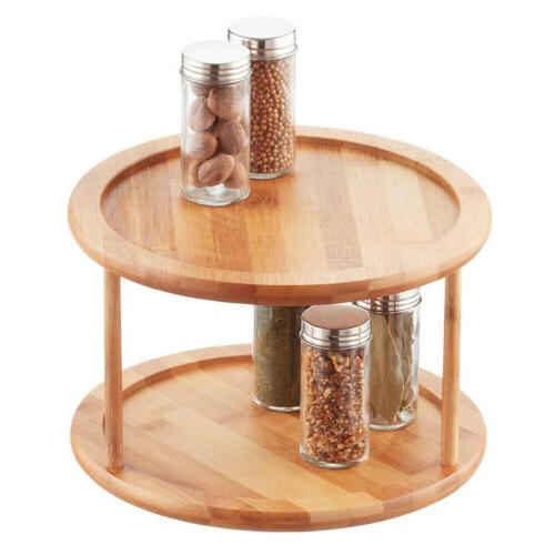 bamboo 2 tier lazy susan turntable storage