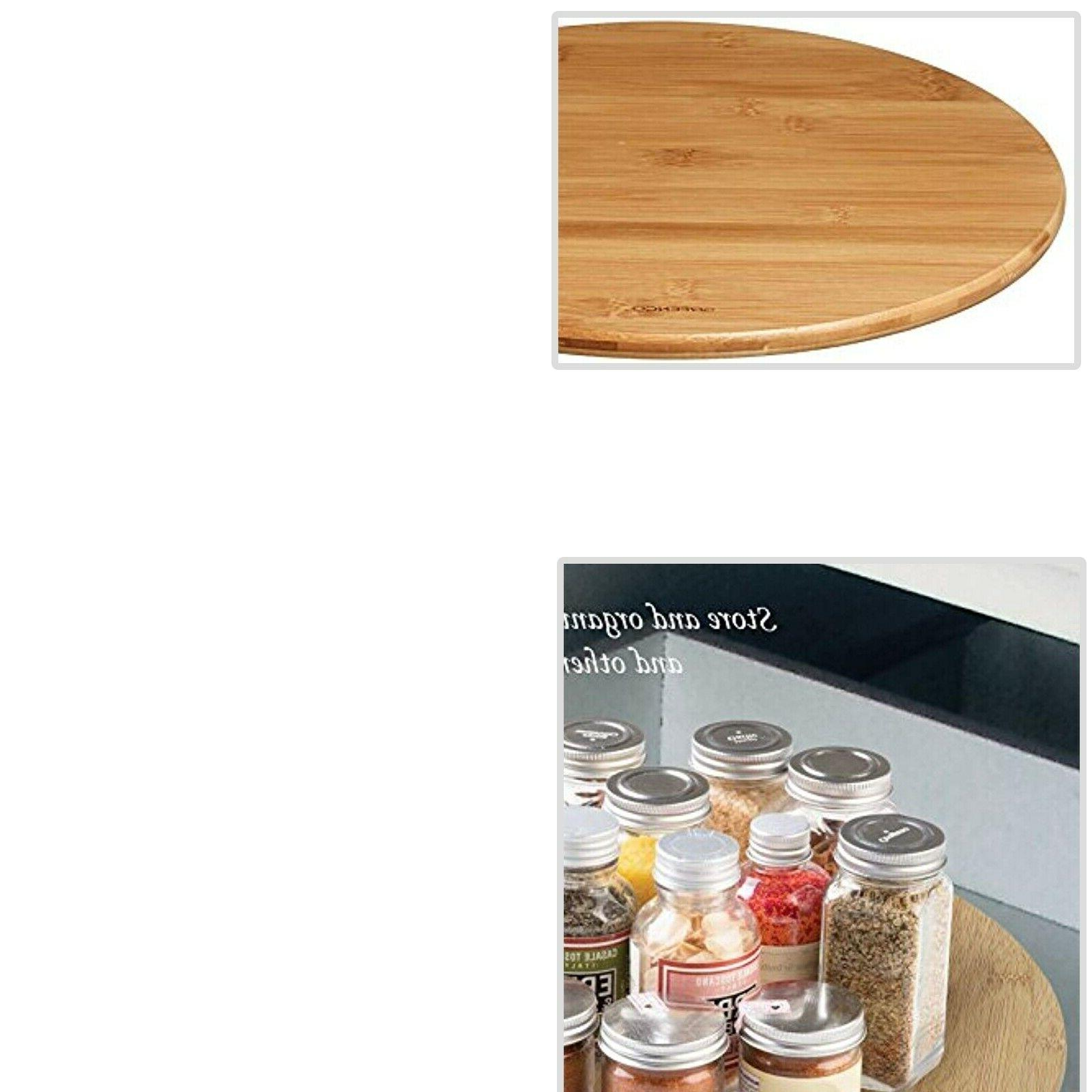 bamboo lazy susan turntable dining food organizer