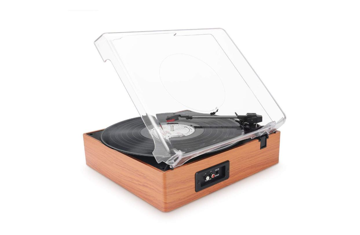 1byone 3-Speed Turntable with Built in Speakers, Wood