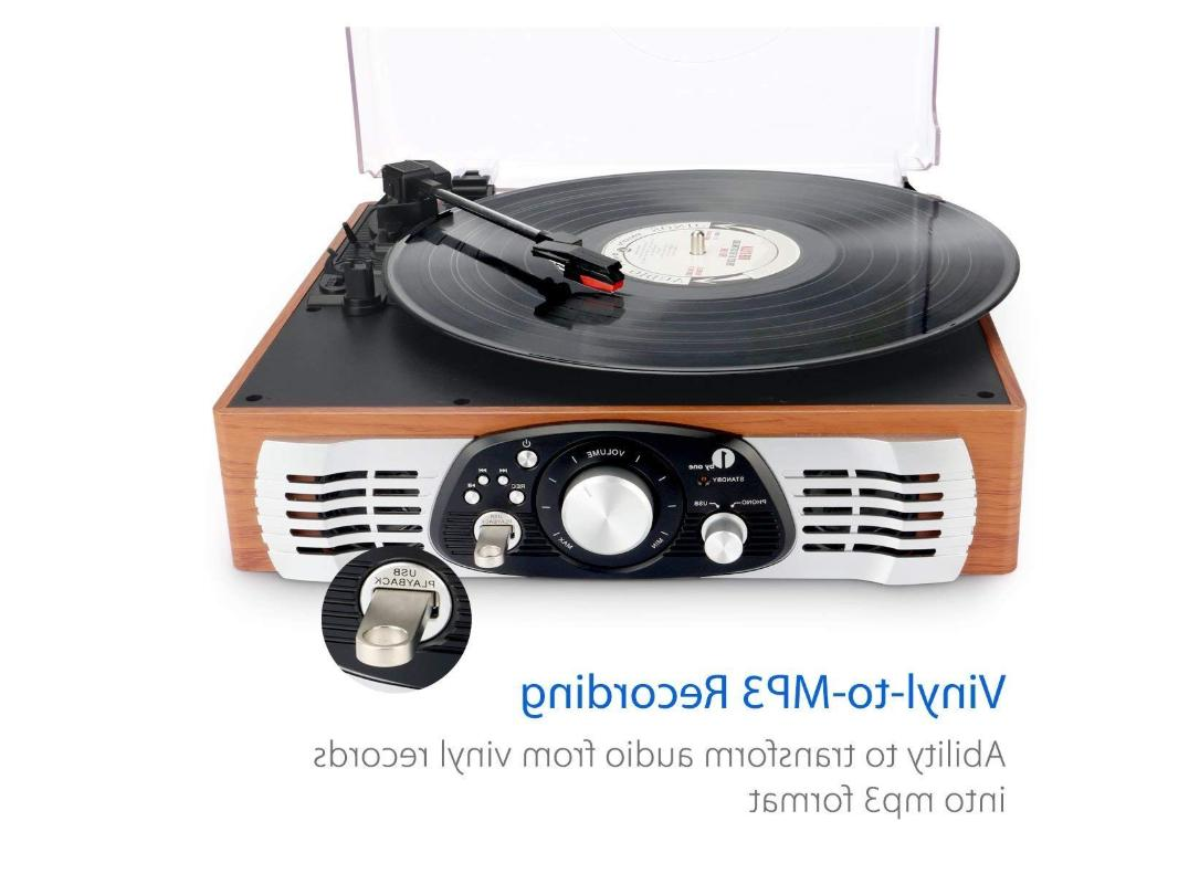 1byone Belt-Drive Turntable with Built in Speakers,