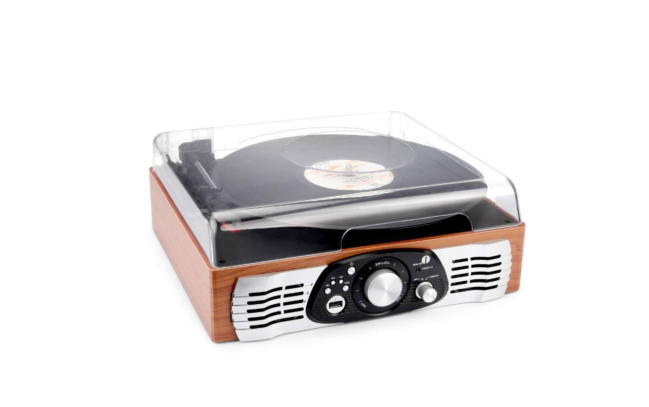 1byone Turntable with Speakers, Natural Wood