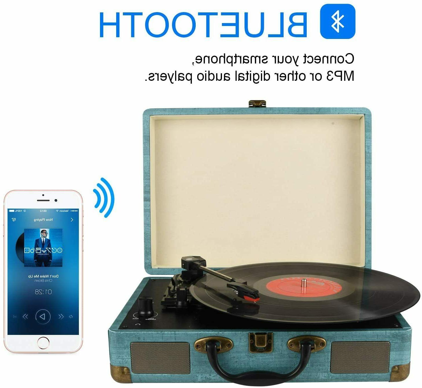 Record Player Vintage 3-Speed Bluetooth Vinyl Turntable with