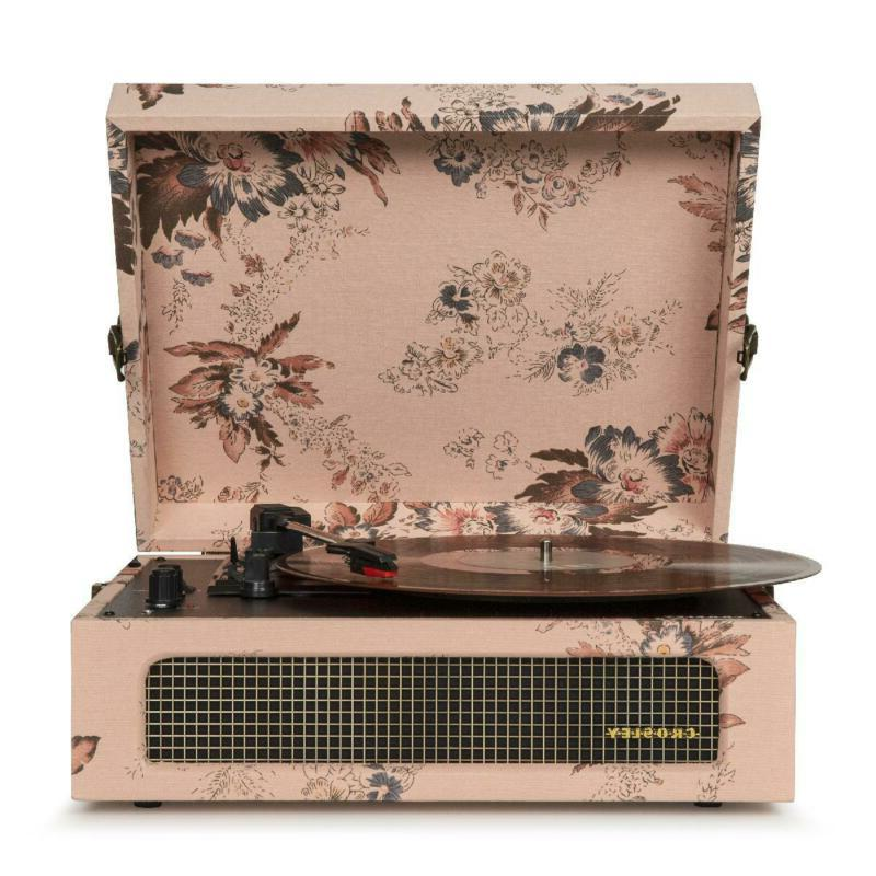 bluetooth portable suitcase record player in vintage