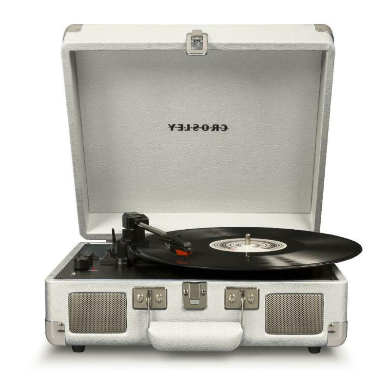 bluetooth portable suitcase record player in white