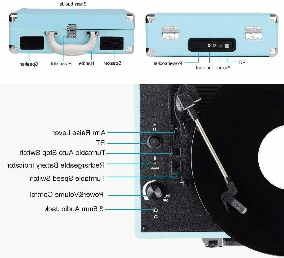 Bluetooth Turntable, 3 Speed Player Suitcase Blue