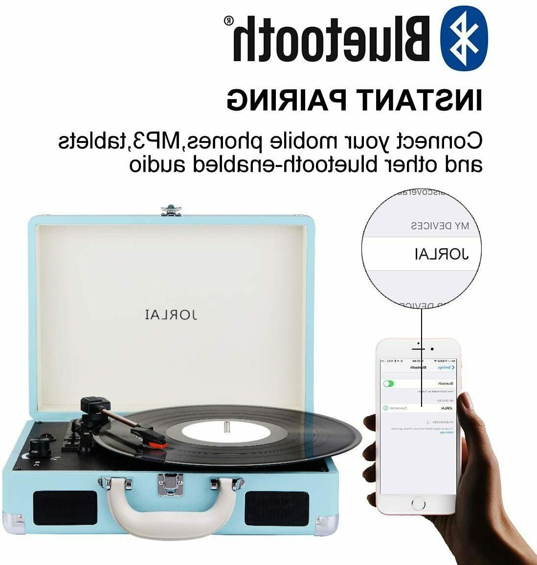 Bluetooth Turntable, 3 Player Suitcase Blue