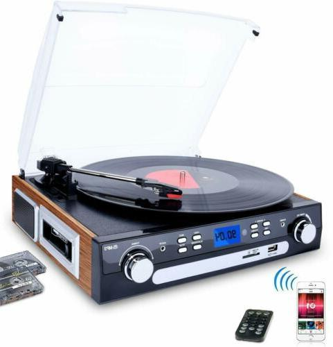 bluetooth record player with stereo speakers turntable