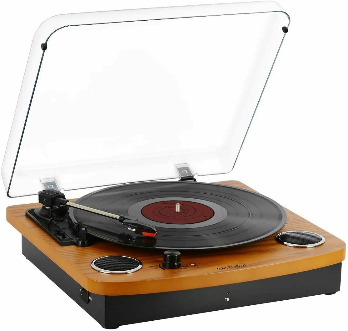 bluetooth turntable vinly record player built in