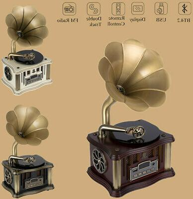 bluetooth vintage vinyl phonograph record player 3