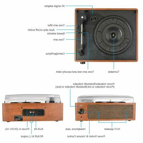 Bluetooth Vintage Vinyl Record Player 3-Speed Stereo