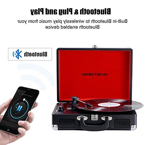 Musitrend Bluetooth Records Player Portable Suitcase Built-in Speakers, Headphone Jack, line Out, Black