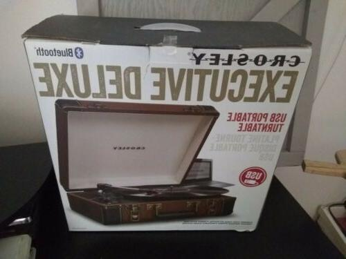 crosley cr6019d br executive portable usb turntable bluetoot