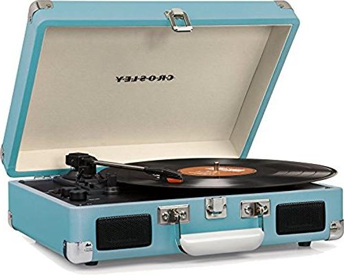 Bundle - Crosley Cruiser Deluxe Portable 3-Speed with Bluetooth, Crosley AC1004A-NA Record Storage Crate 75 Albums,