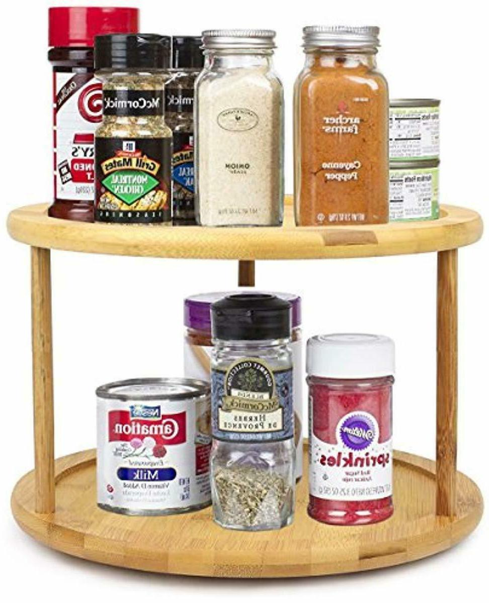 lazy susan turntable 2 tier wooden storage