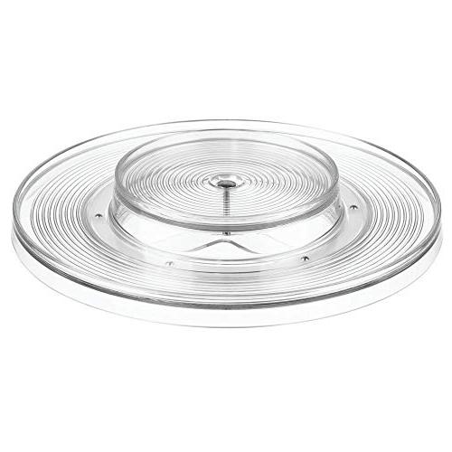 mDesign Plastic Spinning Tier Lazy Turntable Food Storage Bin Rotating Organizer Pantry, Cabinet, or Clear