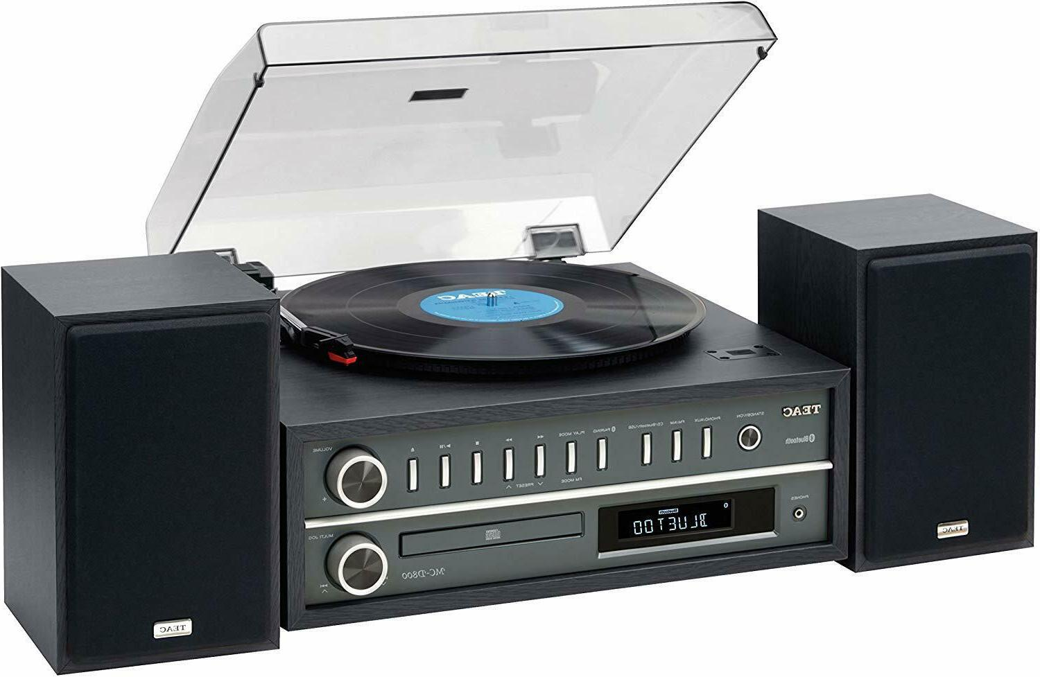 mc d800 stereo turntable system black