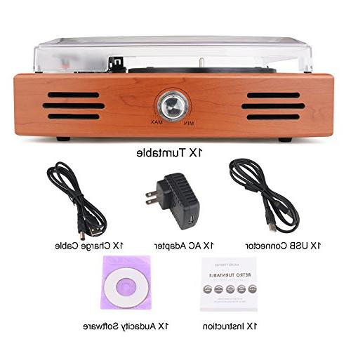Musitrend Stereo Turntable 3 Record Player with to MP3 line Natural