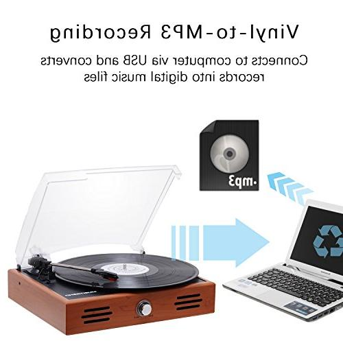 Musitrend 3 Speed with Built-in Speakers, to MP3 Recording, RCA line Wood