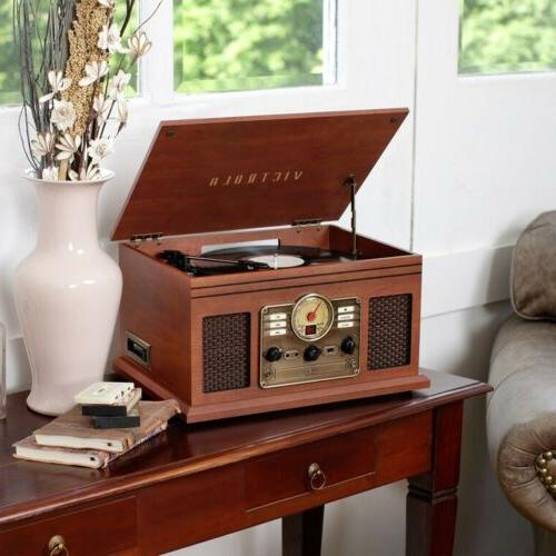 NEW Victrola 7-in-1 Turntable MAHOGANY Bluetooth/FM/AUX/CD/CASSETTE 🚀