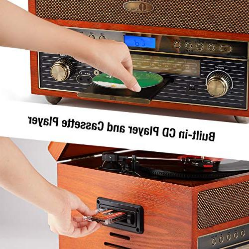 1byone Nostalgic Wooden Bluetooth Vinyl with Recording USB, Input for Tablets and RCA Output