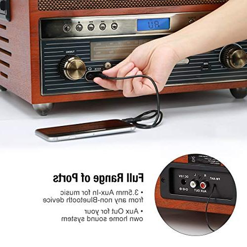 1byone Nostalgic Bluetooth Record with Recording AUX Tablets and RCA