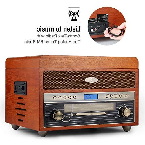 1byone Wooden Bluetooth Vinyl Record with AM/FM, MP3 Input for Smartphones & Tablets and