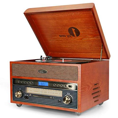nostalgic wooden turntable bluetooth vinyl