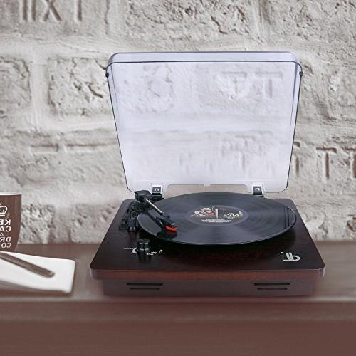 D&L 3-Speed with Stereo Vintage Phonograph PC Recording, Control and Output,Wood