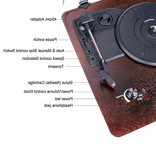 D&L with Vintage Turntable PC Control and RCA Output,Wood