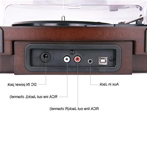 D&L Player with Built-in Vintage Phonograph Turntable PC Recording, and RCA Output,Wood