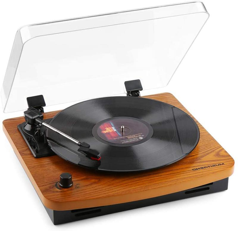 Record Player, Musitrend 3-Speed Belt-Drive Turntable with B