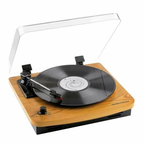 Musitrend Record Player 3Speed Belt-Drive Turntable with Bui