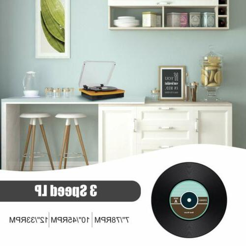 Musitrend Record Player Belt-Drive with Stereo Speaker