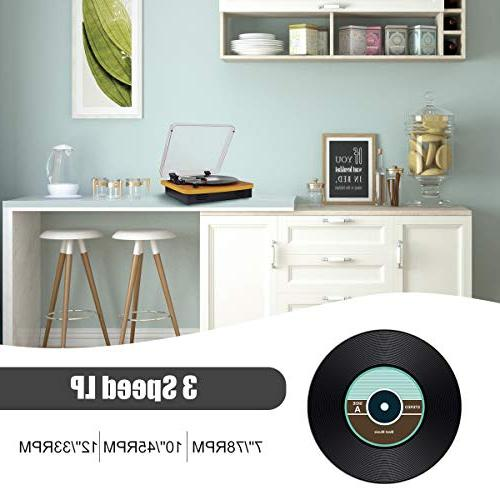 Musitrend Belt-Drive Stereo Record Player Support Vinyl-to-MP3 Recording, AUX RCA Jack