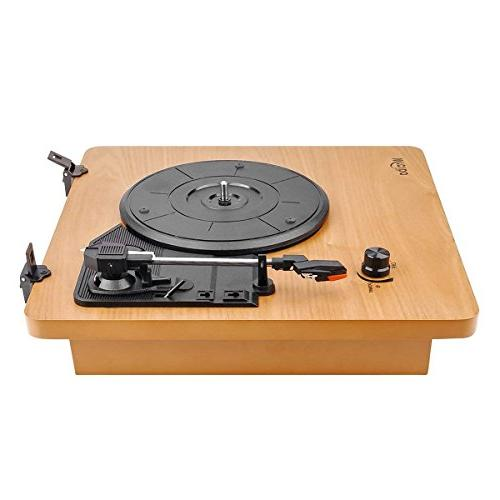 Wrcibo Record Player, Turntable 3-Speed Belt Vinyl Player with Stereo Speaker, Aux-in, Headphone and Wood