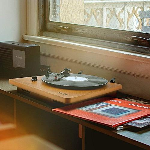 Wrcibo Player, Vinyl Player Built-in Speaker, Aux-in, Headphone and RCA Natural Wood