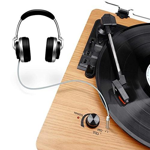Wrcibo Record Player, Vintage Turntable Drive Vinyl LP Player with Built-in Speaker, Jack, and Wood