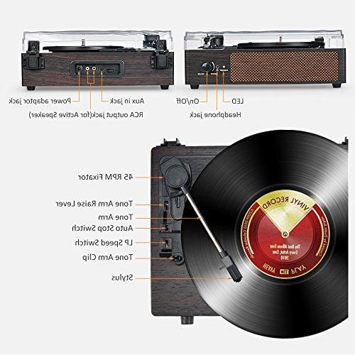 Record LP Belt-Drive with Built in Stereo Speakers, Vintage Record